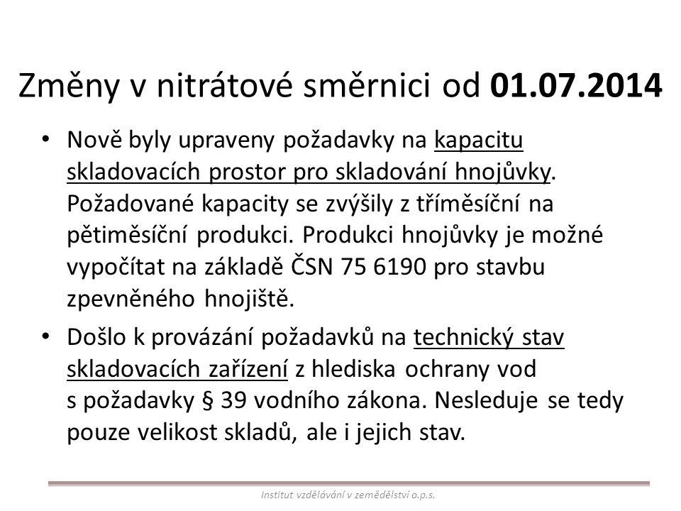 Změny v nitrátové směrnici od 01.07.2014
