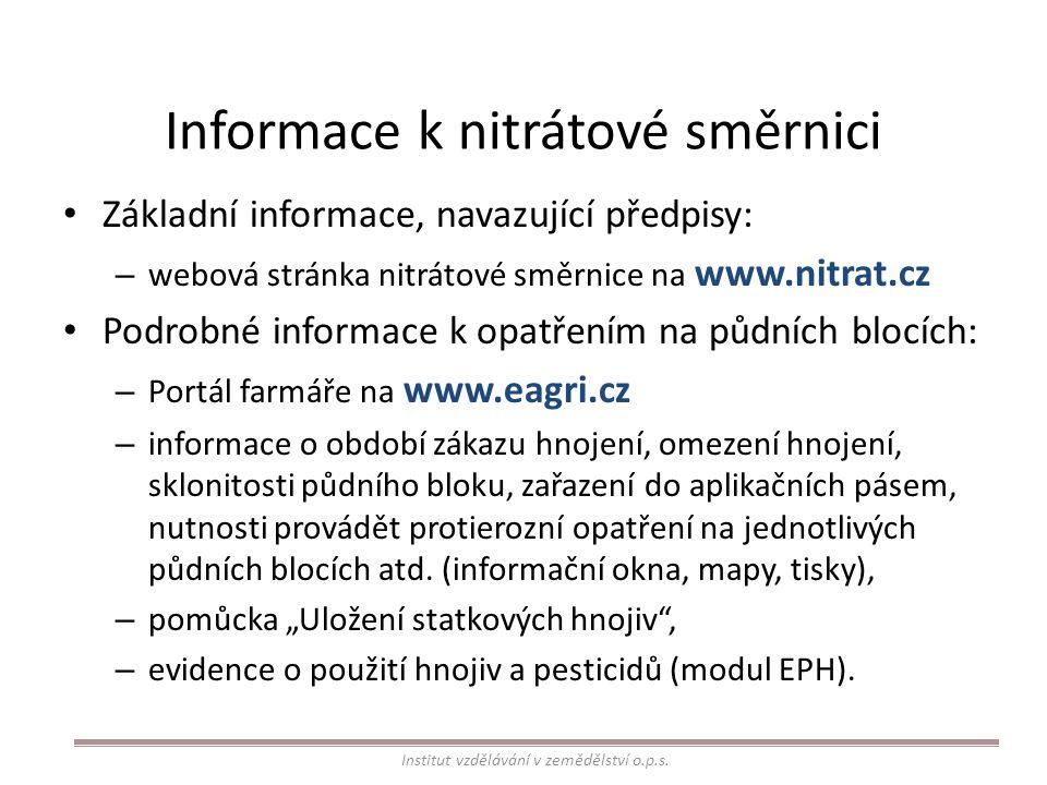 Informace k nitrátové směrnici