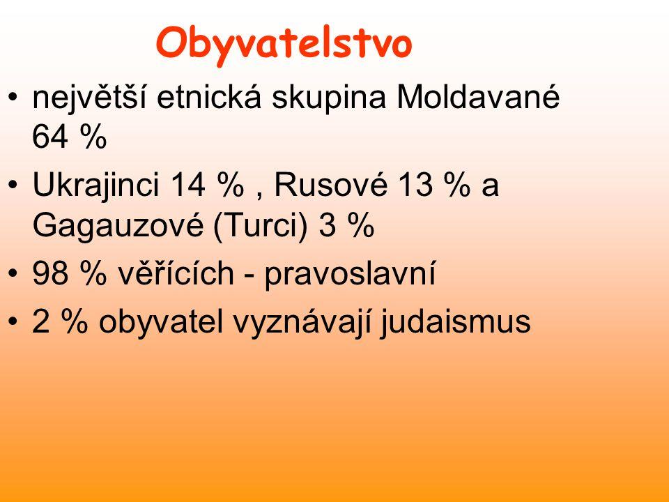 Obyvatelstvo největší etnická skupina Moldavané 64 %