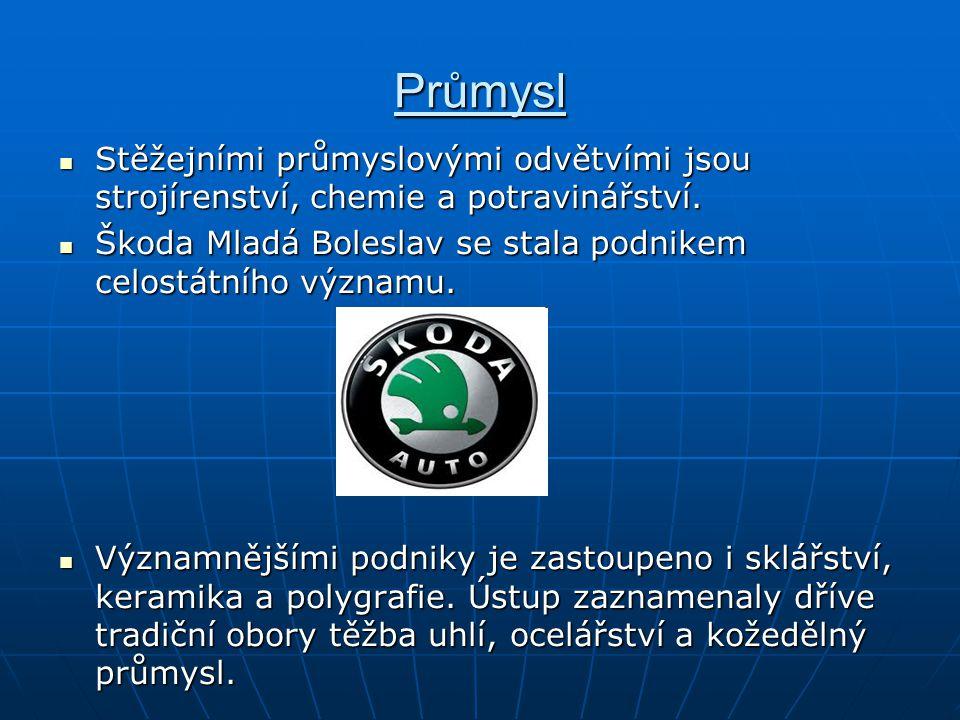 Průmysl Stěžejními průmyslovými odvětvími jsou strojírenství, chemie a potravinářství. Škoda Mladá Boleslav se stala podnikem celostátního významu.