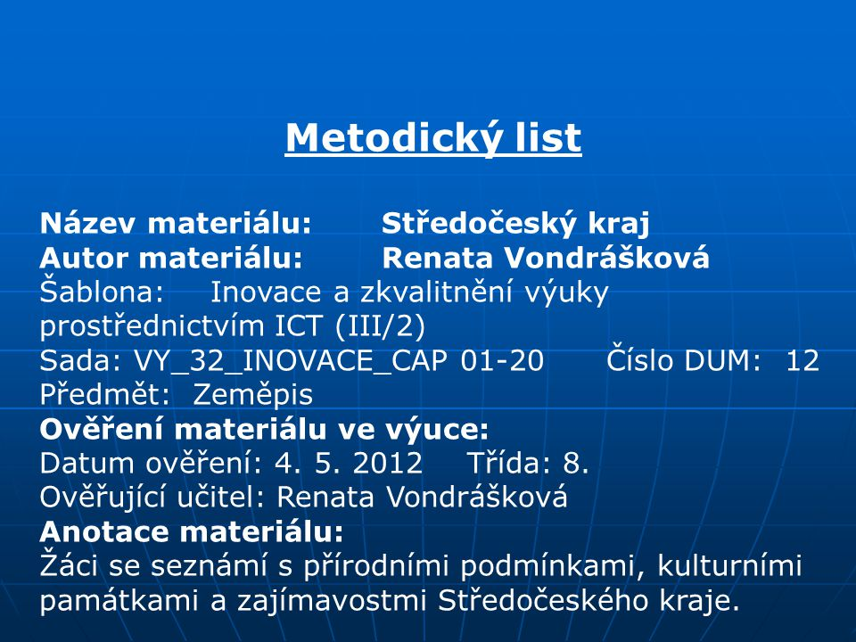 Metodický list Název materiálu: Středočeský kraj