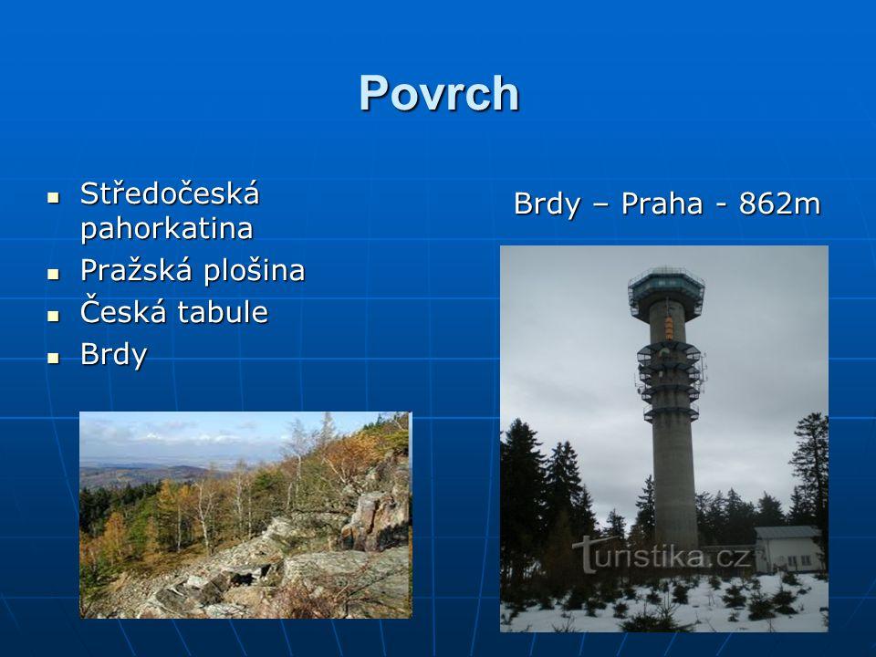 Povrch Středočeská pahorkatina Pražská plošina Česká tabule Brdy