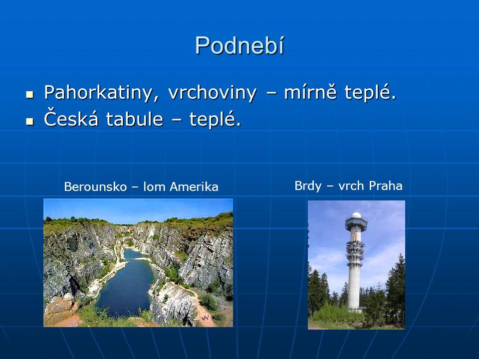 Podnebí Pahorkatiny, vrchoviny – mírně teplé. Česká tabule – teplé.