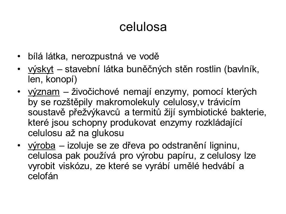 celulosa bílá látka, nerozpustná ve vodě