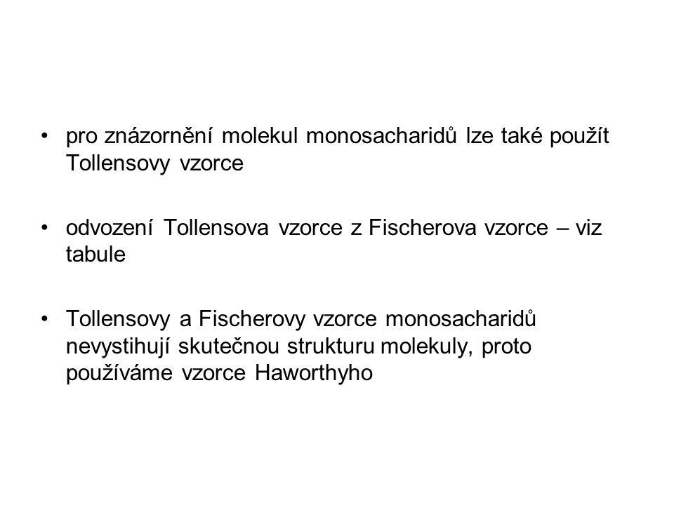 pro znázornění molekul monosacharidů lze také použít Tollensovy vzorce