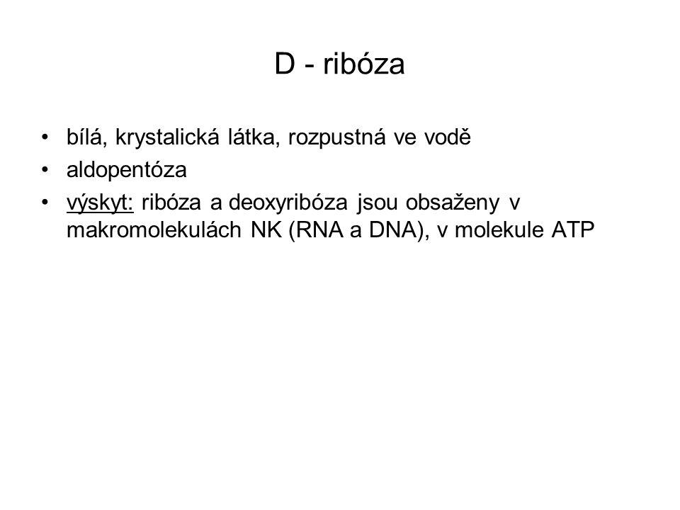 D - ribóza bílá, krystalická látka, rozpustná ve vodě aldopentóza