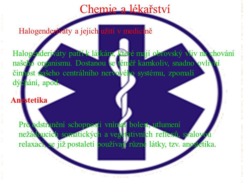 Chemie a lékařství Halogenderiváty a jejich užití v medicíně.
