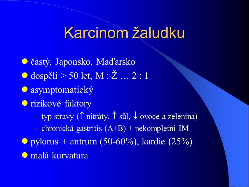 Karcinom žaludku častý, Japonsko, Maďarsko