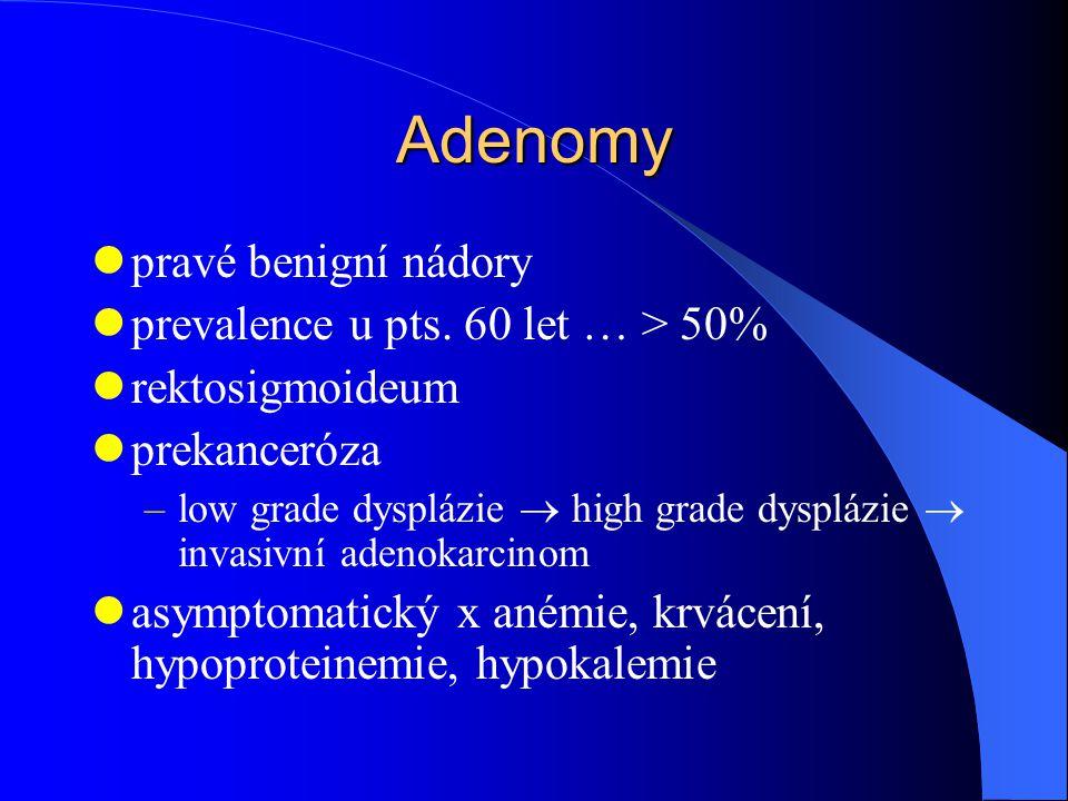 Adenomy pravé benigní nádory prevalence u pts. 60 let … > 50%