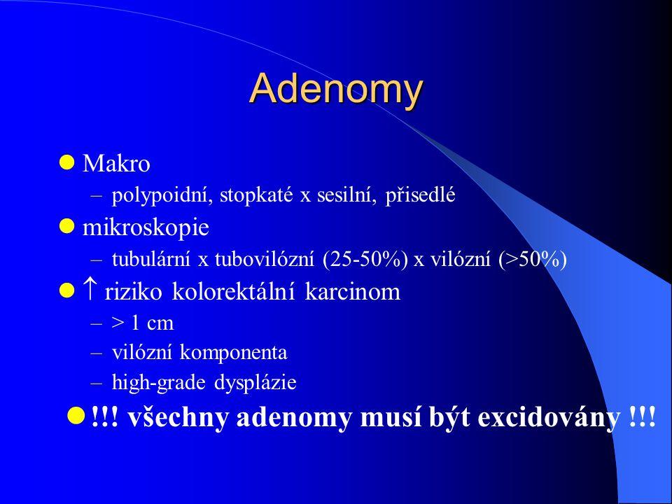 !!! všechny adenomy musí být excidovány !!!