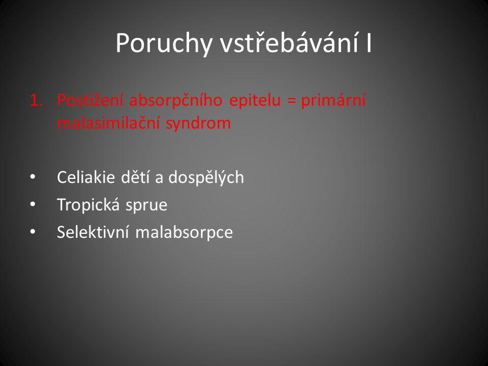 Poruchy vstřebávání I Postižení absorpčního epitelu = primární malasimilační syndrom. Celiakie dětí a dospělých.