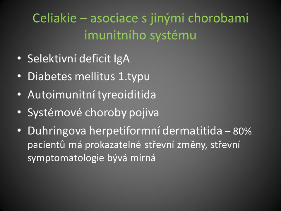 Celiakie – asociace s jinými chorobami imunitního systému