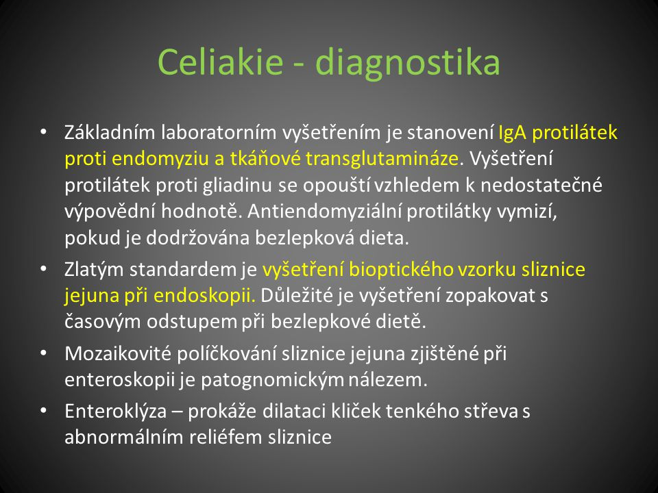 Celiakie - diagnostika