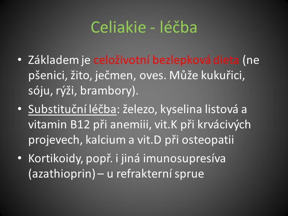 Celiakie - léčba Základem je celoživotní bezlepková dieta (ne pšenici, žito, ječmen, oves. Může kukuřici, sóju, rýži, brambory).