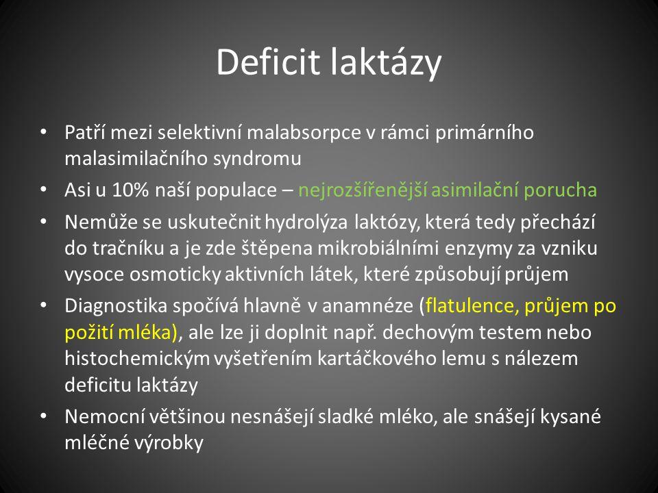 Deficit laktázy Patří mezi selektivní malabsorpce v rámci primárního malasimilačního syndromu.