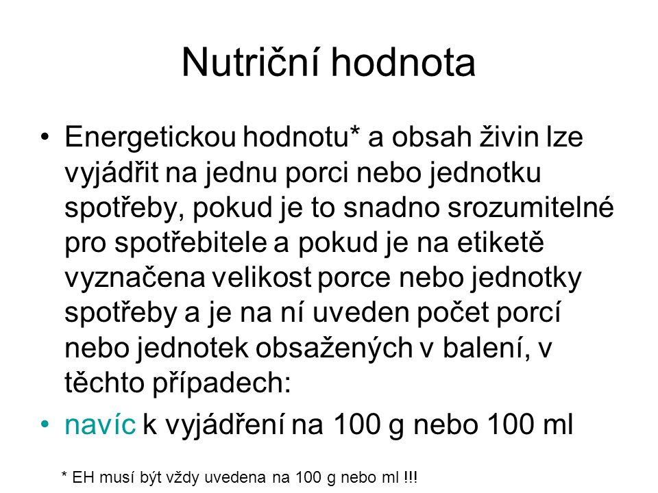 Nutriční hodnota