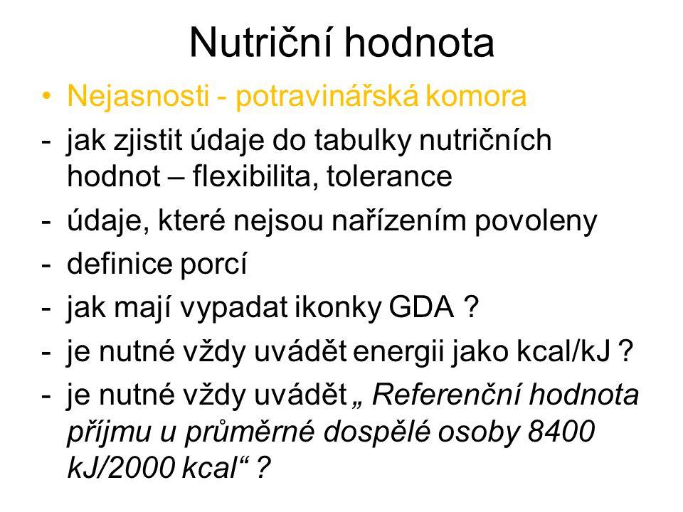 Nutriční hodnota Nejasnosti - potravinářská komora
