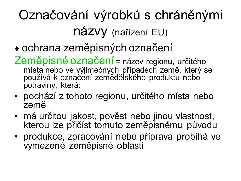 Označování výrobků s chráněnými názvy (nařízení EU)