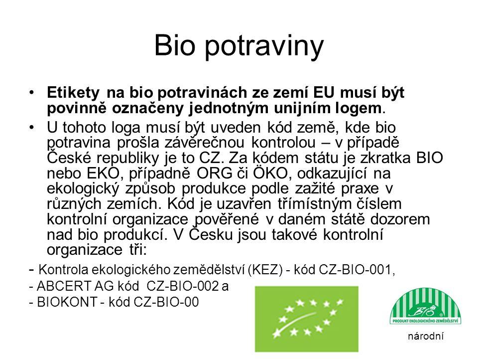 Bio potraviny Etikety na bio potravinách ze zemí EU musí být povinně označeny jednotným unijním logem.