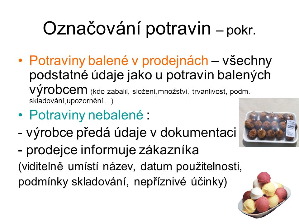 Označování potravin – pokr.