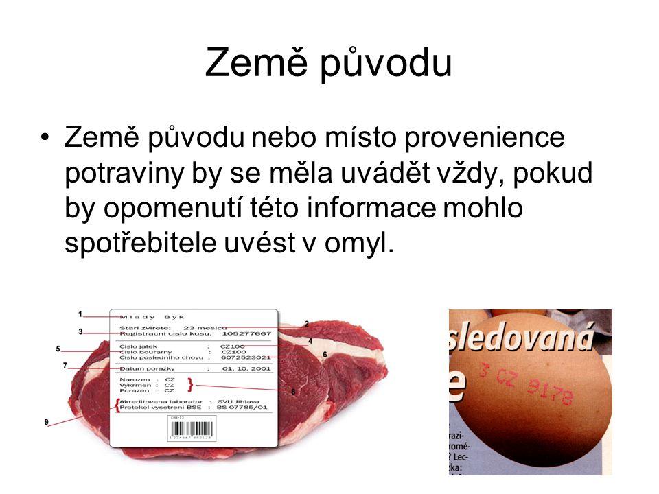 Země původu Země původu nebo místo provenience potraviny by se měla uvádět vždy, pokud by opomenutí této informace mohlo spotřebitele uvést v omyl.