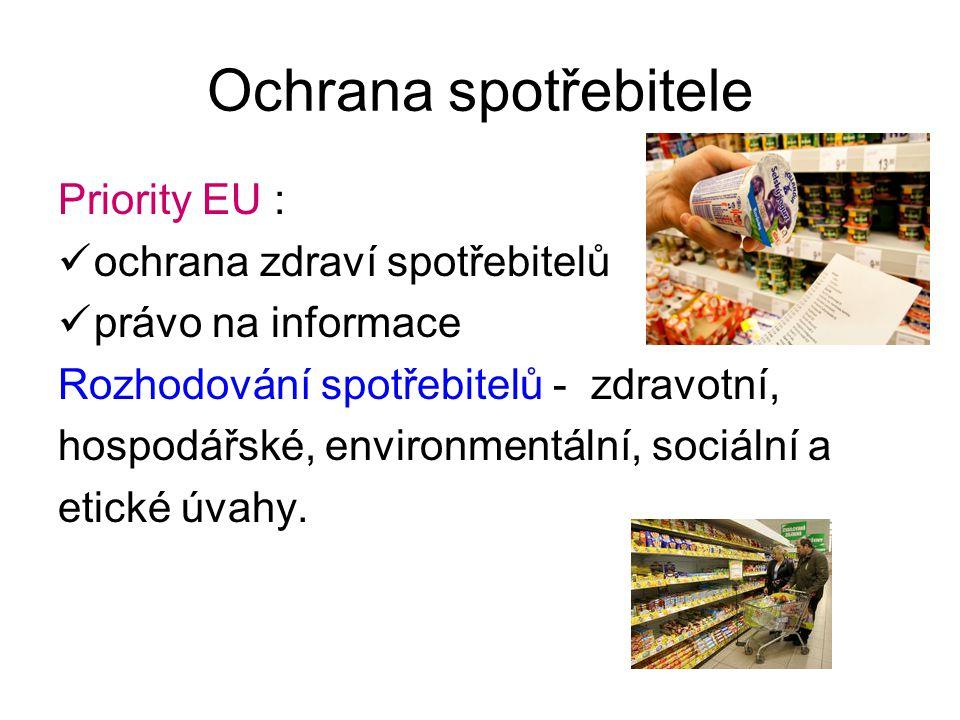 Ochrana spotřebitele Priority EU : ochrana zdraví spotřebitelů