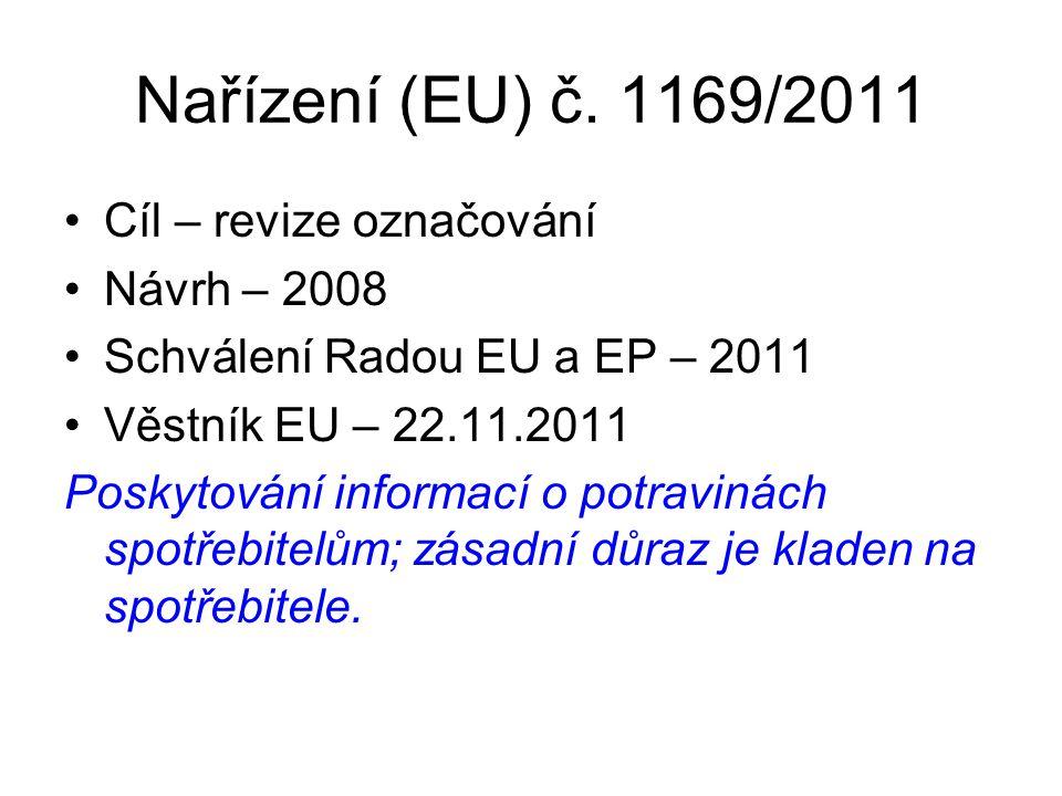 Nařízení (EU) č. 1169/2011 Cíl – revize označování Návrh – 2008