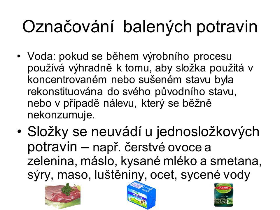 Označování balených potravin