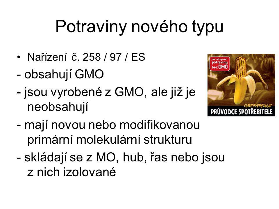 Potraviny nového typu - obsahují GMO