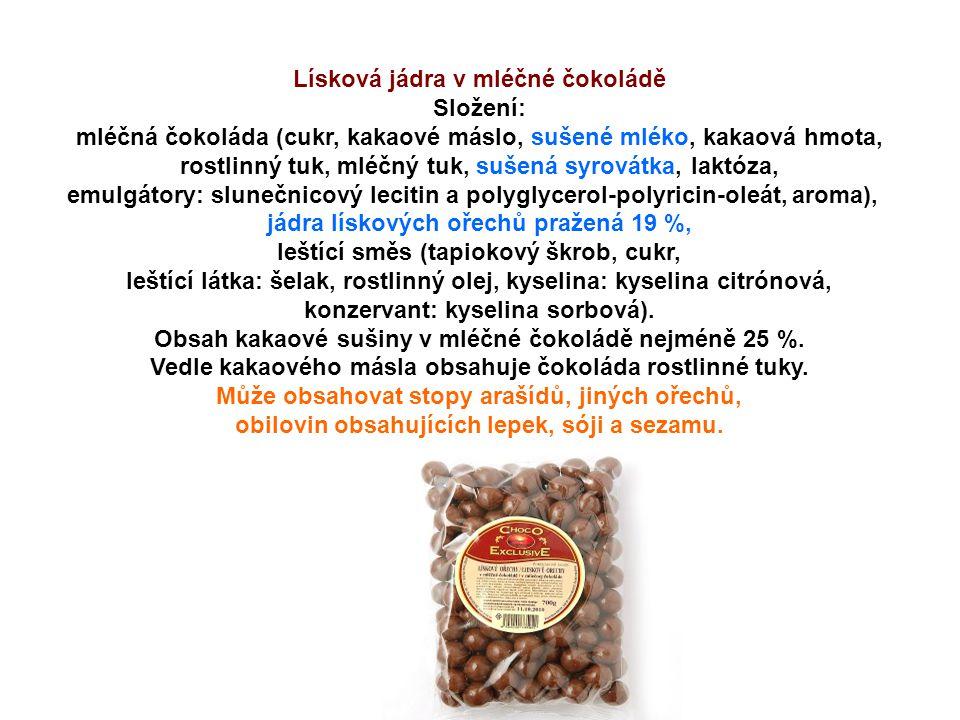 Lísková jádra v mléčné čokoládě Složení: