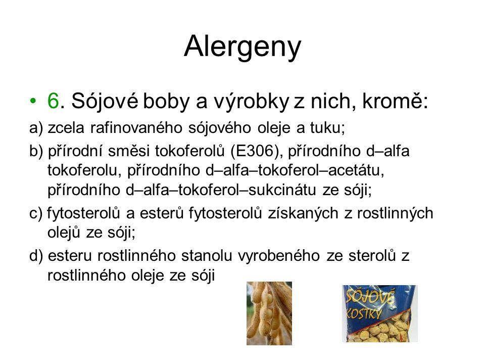 Alergeny 6. Sójové boby a výrobky z nich, kromě: