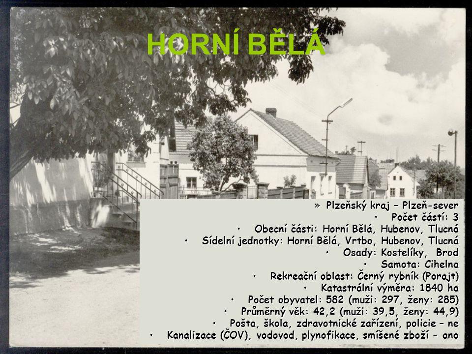 HORNÍ BĚLÁ Plzeňský kraj – Plzeň-sever Počet částí: 3