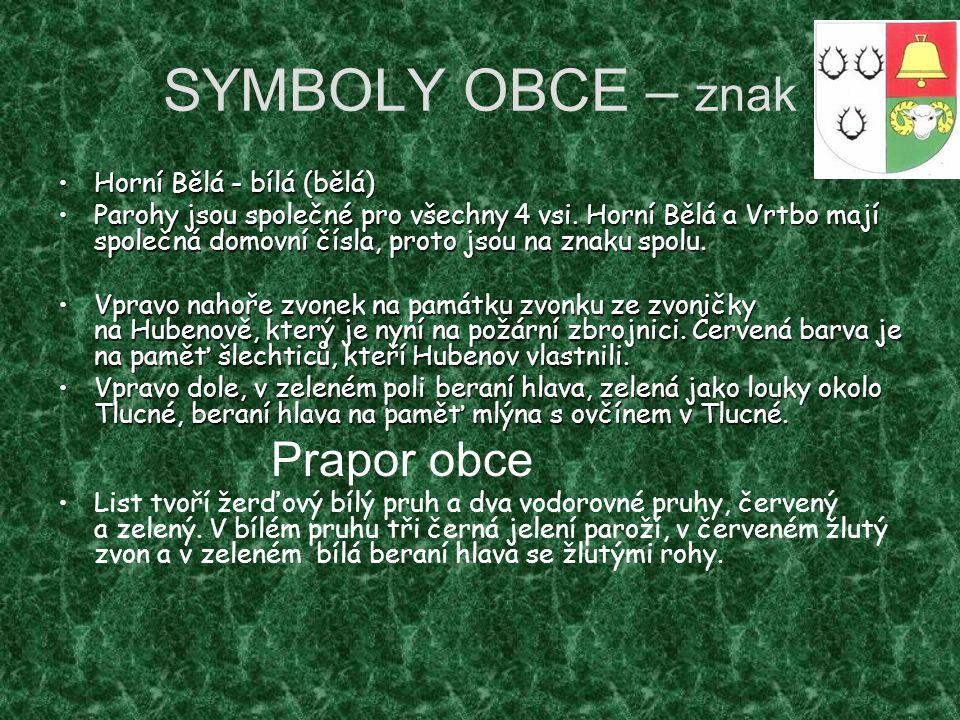 SYMBOLY OBCE – znak Prapor obce Horní Bělá - bílá (bělá)