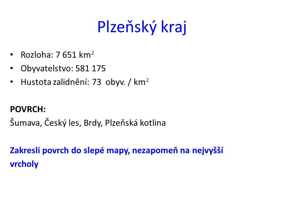 Plzeňský kraj Rozloha: 7 651 km2 Obyvatelstvo: 581 175
