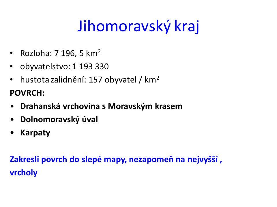 Jihomoravský kraj Rozloha: 7 196, 5 km2 obyvatelstvo: 1 193 330