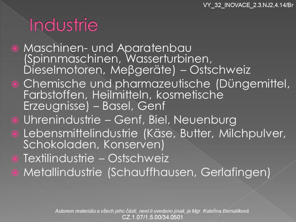 VY_32_INOVACE_2.3.NJ2,4.14/Br Industrie. Maschinen- und Aparatenbau (Spinnmaschinen, Wasserturbinen, Dieselmotoren, Meβgeräte) – Ostschweiz.