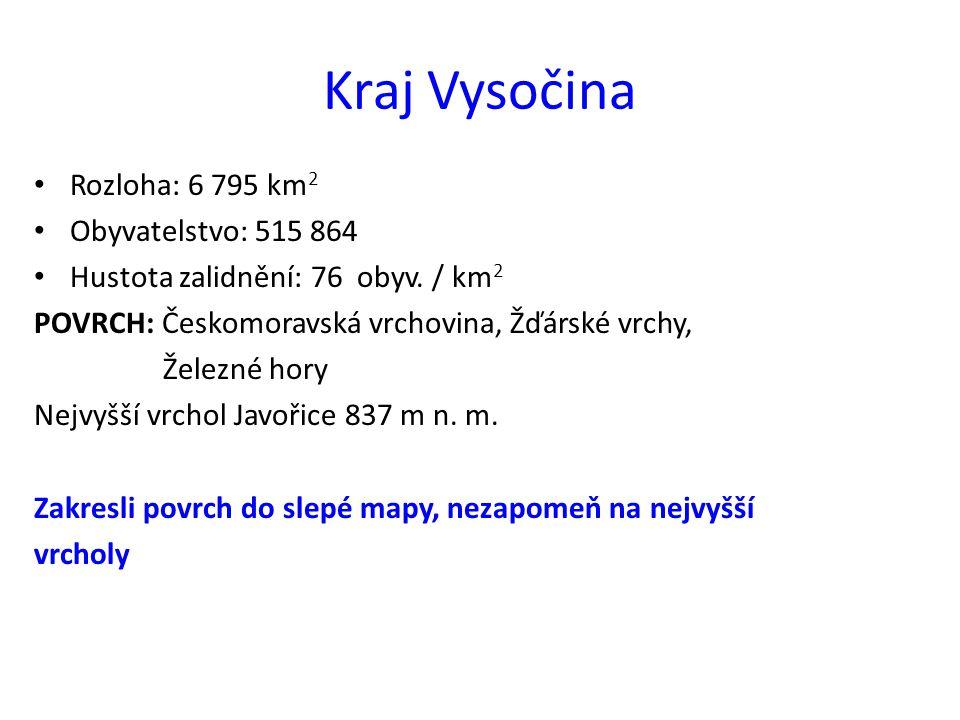 Kraj Vysočina Rozloha: 6 795 km2 Obyvatelstvo: 515 864