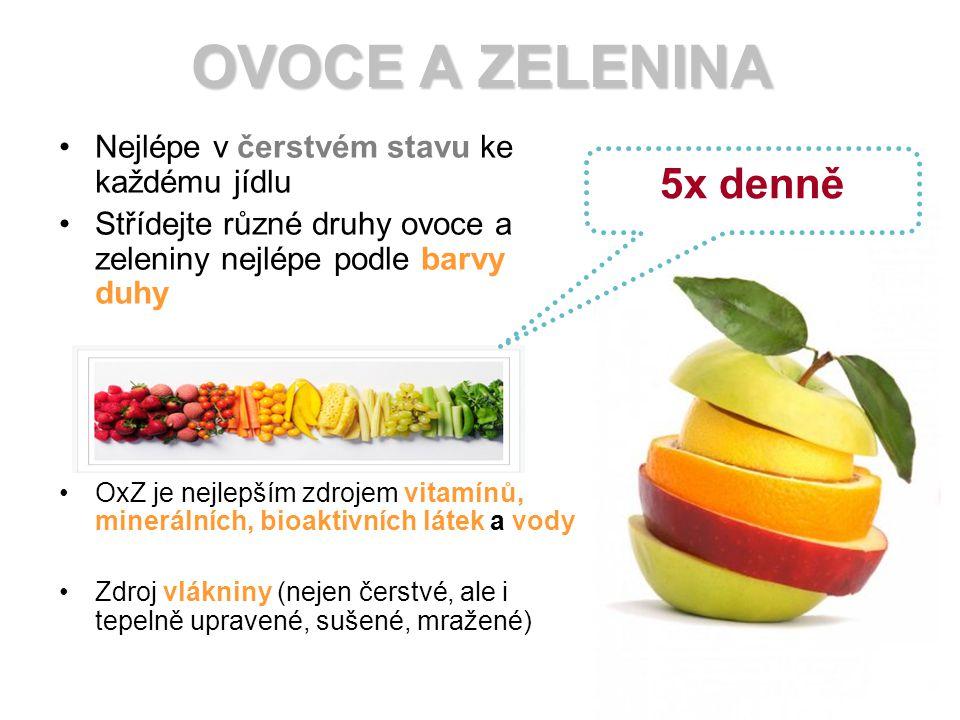 OVOCE A ZELENINA 5x denně Nejlépe v čerstvém stavu ke každému jídlu