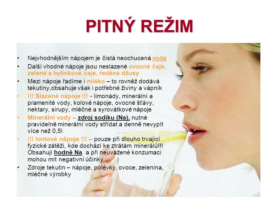 PITNÝ REŽIM Nejvhodnějším nápojem je čistá neochucená voda