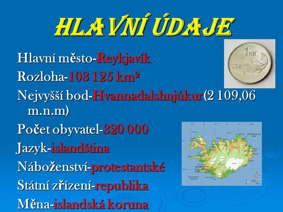 HLAVNÍ ÚDAJE Hlavní město-Reykjavík Rozloha-103 125 km²