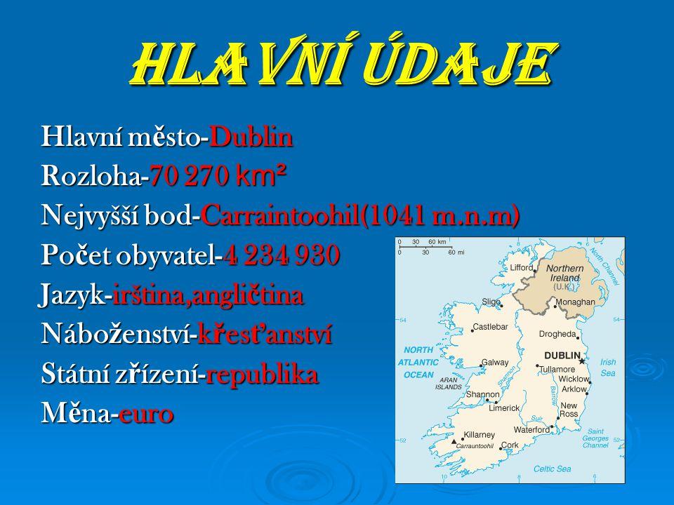 HLAVNÍ ÚDAJE Hlavní město-Dublin Rozloha-70 270 km²