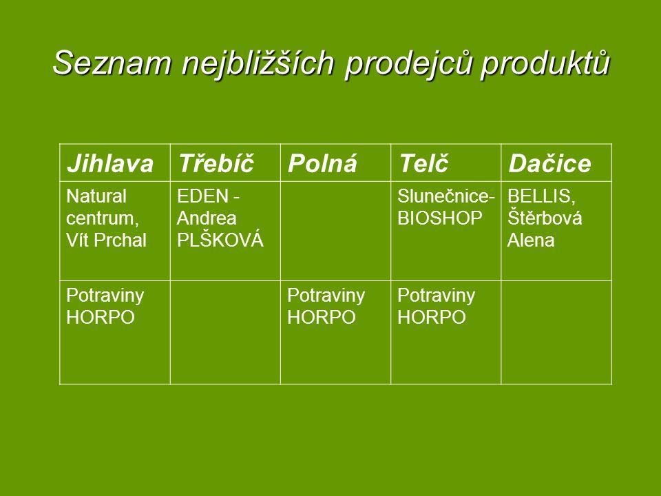 Seznam nejbližších prodejců produktů