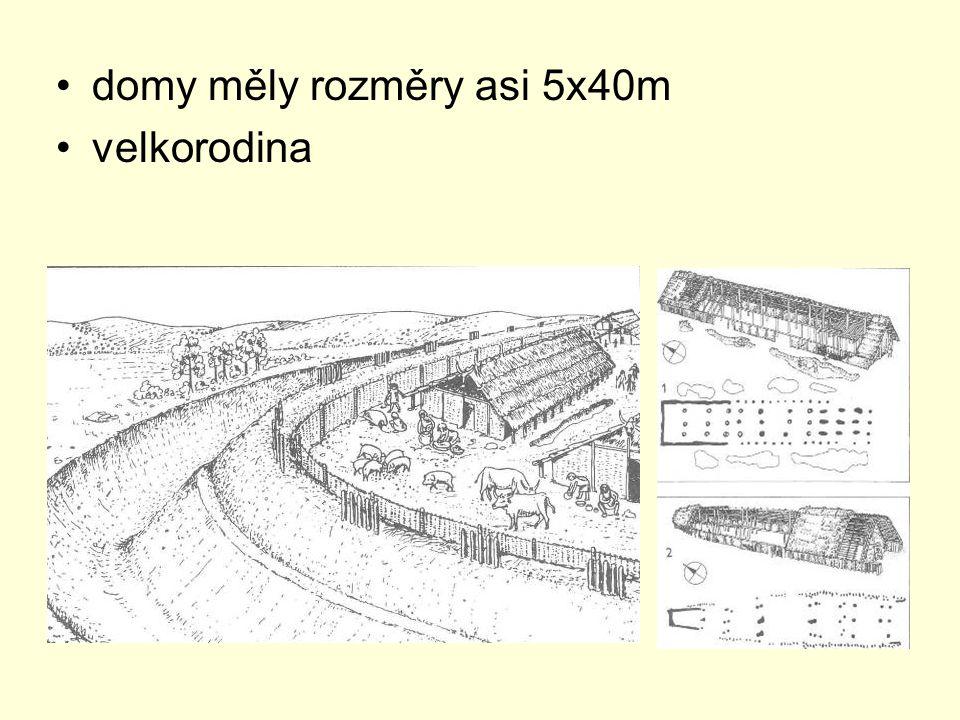 domy měly rozměry asi 5x40m