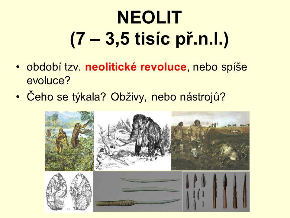 NEOLIT (7 – 3,5 tisíc př.n.l.) období tzv. neolitické revoluce, nebo spíše evoluce.
