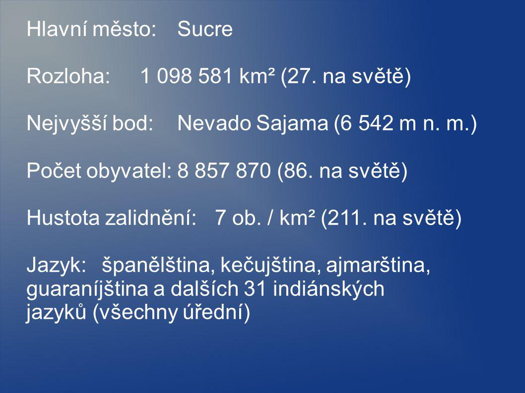 Hlavní město: Sucre Rozloha: 1 098 581 km² (27. na světě) Nejvyšší bod: Nevado Sajama (6 542 m n. m.)