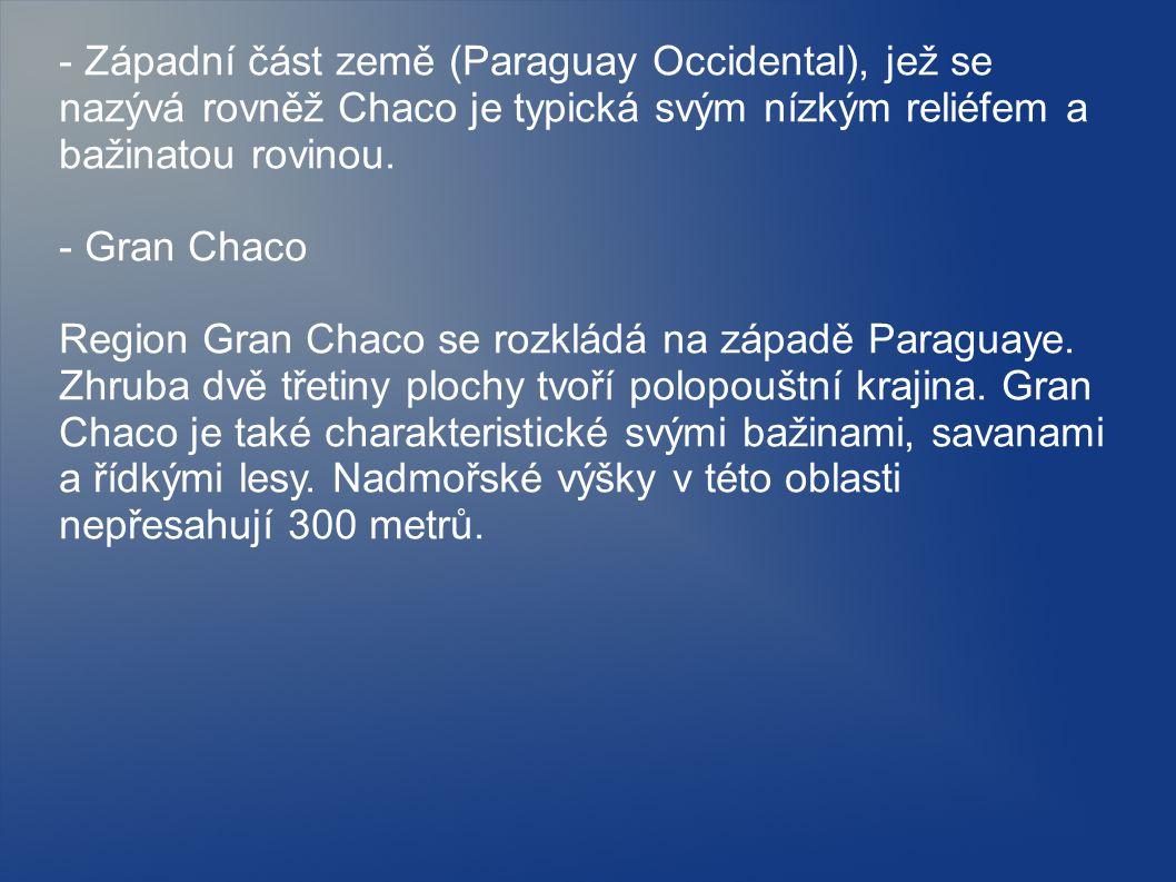 - Západní část země (Paraguay Occidental), jež se nazývá rovněž Chaco je typická svým nízkým reliéfem a bažinatou rovinou.