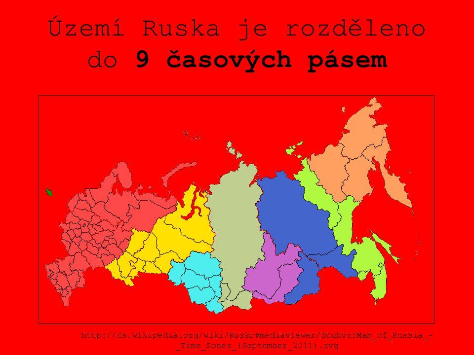 Území Ruska je rozděleno do 9 časových pásem