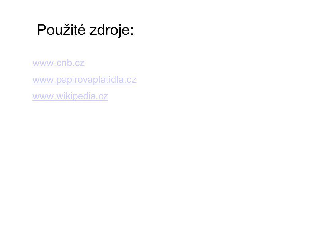 Použité zdroje: www.cnb.cz www.papirovaplatidla.cz www.wikipedia.cz