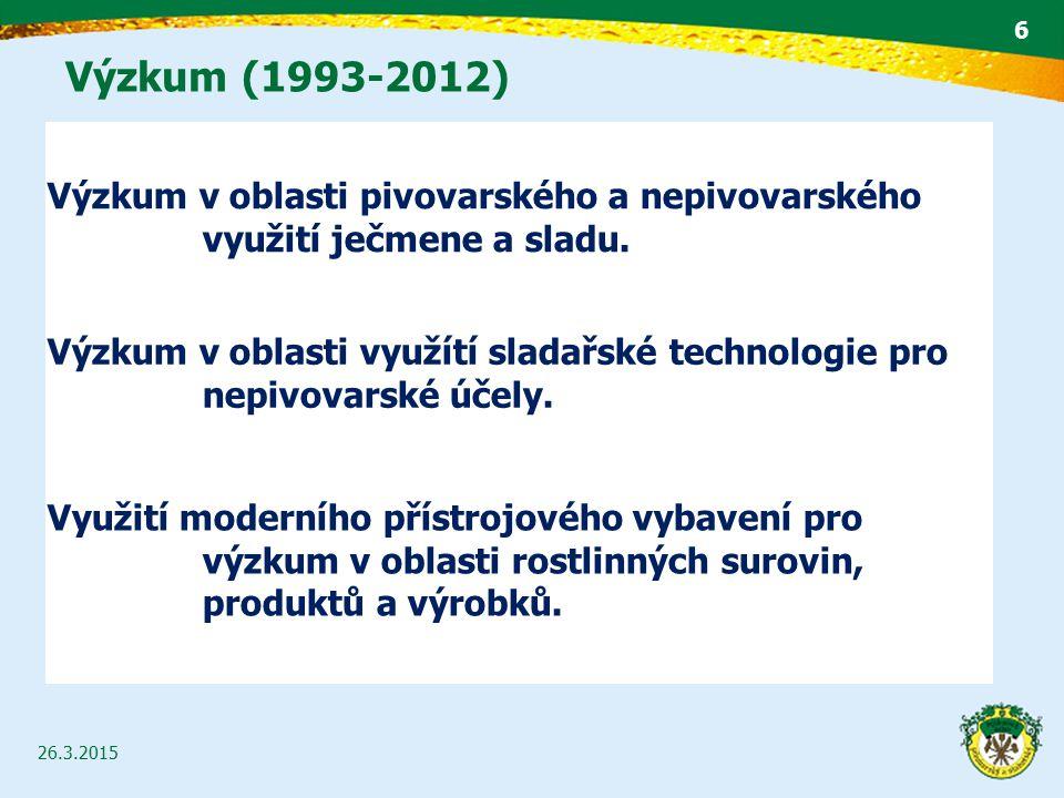 Výzkum (1993-2012) Výzkum v oblasti pivovarského a nepivovarského