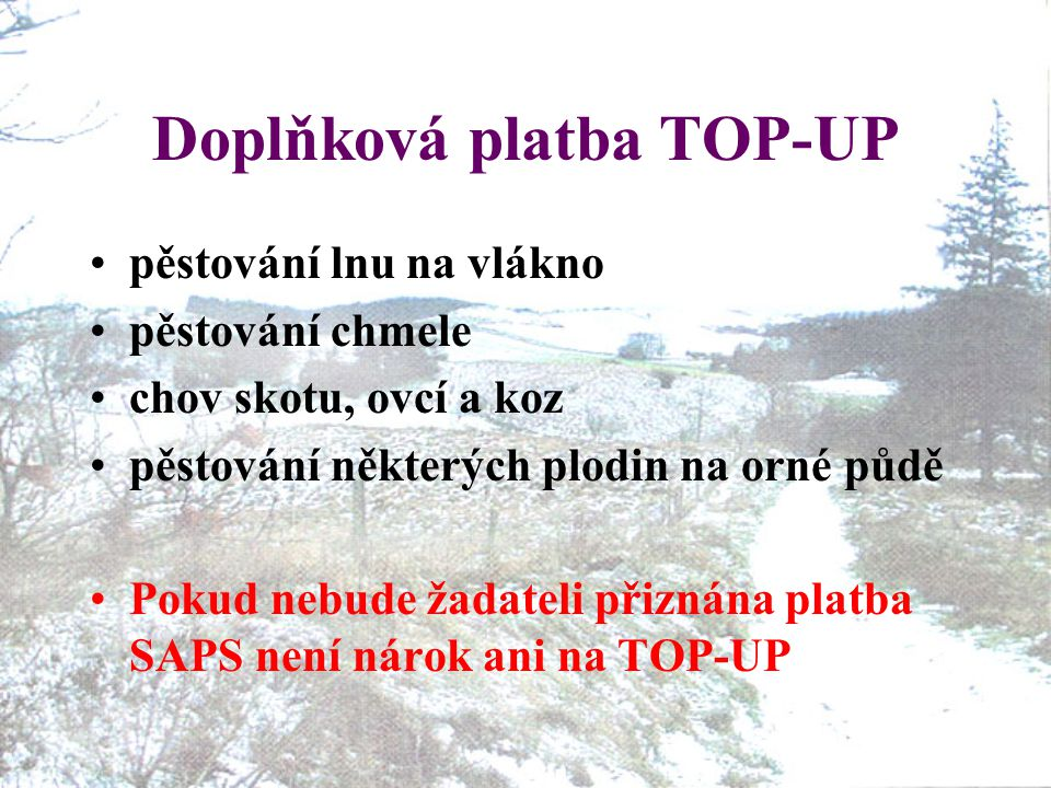 Doplňková platba TOP-UP